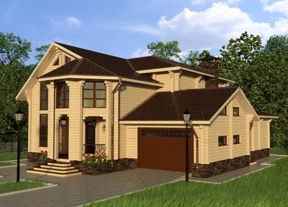 Фото двухэтажный домов с гаражом