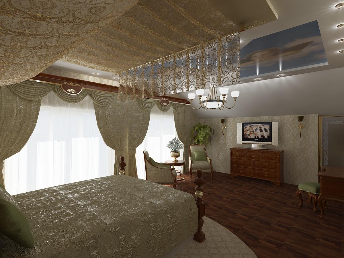 Спальни дизайн в мансардах